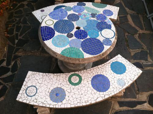 Mosaic Patio Table and Benches